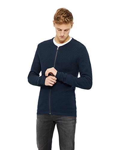 SELECTED HOMME Herren Zip Cardigan, Blau