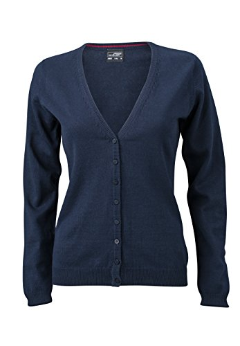 James & Nicholson Damen V-Neck Cardigan, Blau