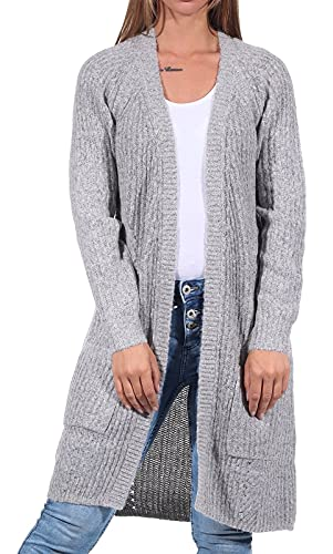 ONLY Damen 15165076 Long Cardigan, Grau