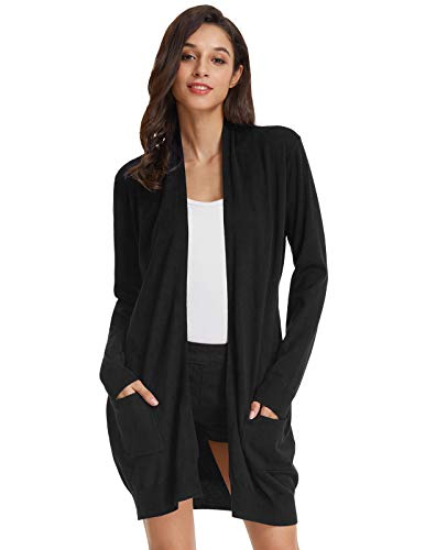 GRACE KARIN Damen Long-Cardigan Schwarz