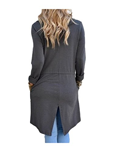 SwissWell Damen Strickjacke Cardigan Pullover Blazer Oberteil Open Front Jacke Mantel Langarm Loose mit Taschen Grau XL - 3
