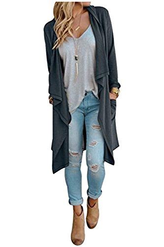 SwissWell Damen Strickjacke Cardigan Pullover Blazer Oberteil Open Front Jacke Mantel Langarm Loose mit Taschen Grau XL - 4