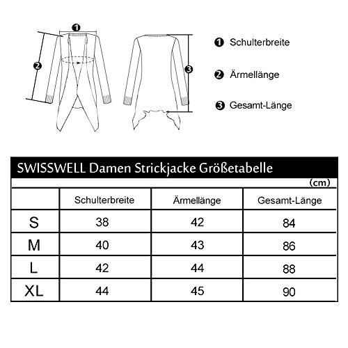 SwissWell Damen Strickjacke Cardigan Pullover Blazer Oberteil Open Front Jacke Mantel Langarm Loose mit Taschen Grau XL - 6
