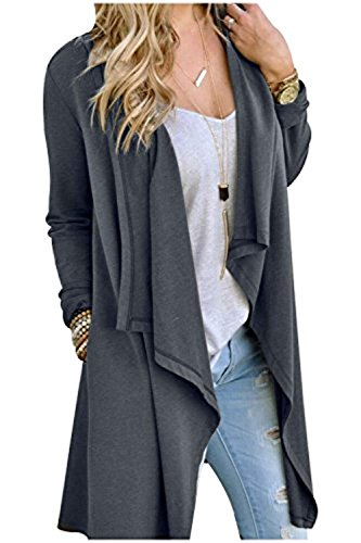 SwissWell Damen Strickjacke Cardigan Pullover Blazer Oberteil Open Front Jacke Mantel Langarm Loose mit Taschen Grau XL - 8