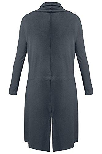 SwissWell Damen Strickjacke Cardigan Pullover Blazer Oberteil Open Front Jacke Mantel Langarm Loose mit Taschen Grau XL - 2