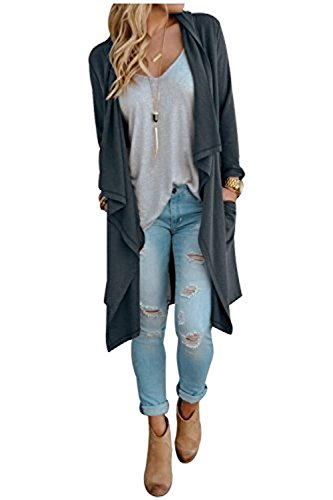 SwissWell Damen Strickjacke Cardigan Pullover Blazer Oberteil Open Front Jacke Mantel Langarm Loose mit Taschen Grau XL - 5