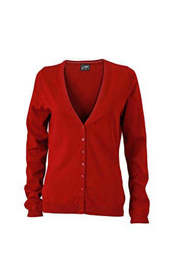 James & Nicholson Damen Cardigan, Rot (Bordeaux)
