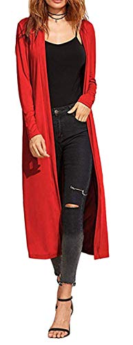 Damen Cardigan - Maxi-Länge - Rot