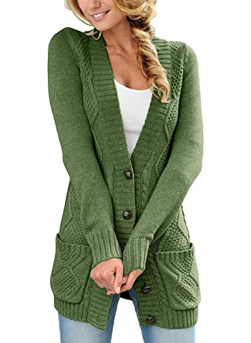 Happy Sailed Damen Strickcardigan, Grün