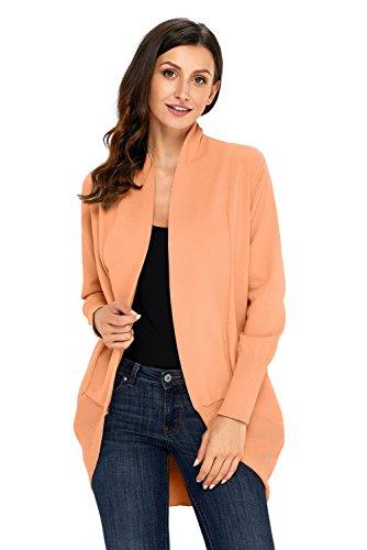 Aleumdr Damen weicher Cardigan Orange