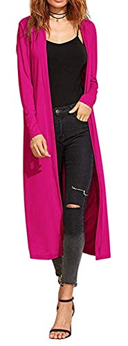 Damen Cardigan - Maxi-Länge - Pink