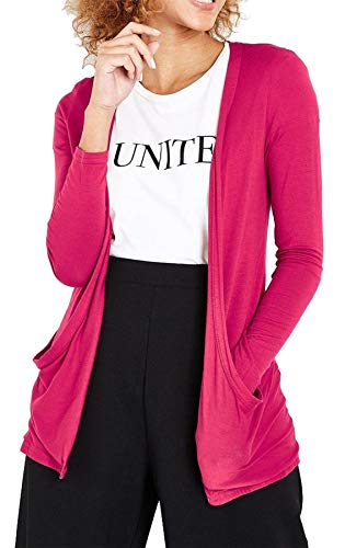 Damen Cardigan - langärmlig & mit Taschen - Pink