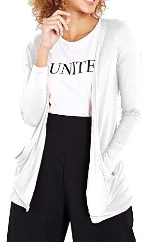 Damen Cardigan, langärmlig & mit Taschen - Weiß