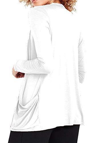 Re Tech UK - Damen Cardigan - Wasserfall-Optik - langärmlig & mit Taschen - Weiß - 48-50 - 2