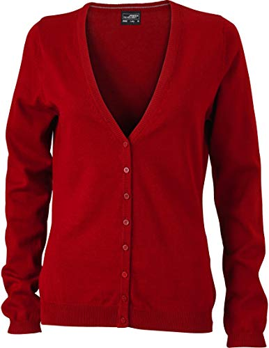 JN660 Damen Cardigan V-Neck, Rot