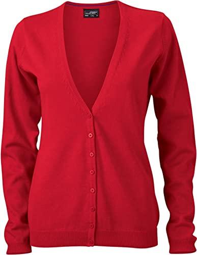 JN660 Damen Cardigan V-Neck, Rot