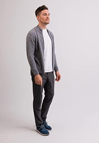 CASH-MERE.CH 100% Kaschmir Herren Pullover Cardigan mit Reißverschluss   Strickjacke mit Reißverschluss 2-fädig (Grau, XXL) - 3